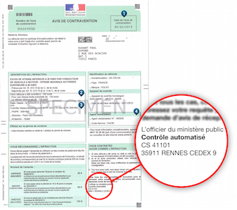 exemple de contravention